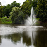 Centrum of Riga, Latvia. Park with gardens and fountains. poster