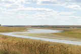 zigzag of the steppe river over the horizon poster