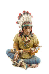 statue of a native american , indian