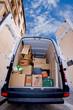loaded moving van