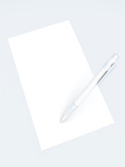 pen and paper in light tones