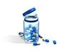 gélules bleues sur fond blanc