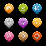 Color circle web icons, set 5 poster