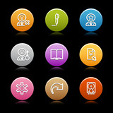 Color circle web icons, set 6 poster