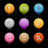 Color circle web icons, set 8 poster
