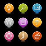 Color circle web icons, set 9 poster