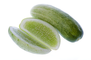 Isolated image of fresh cucumbers.