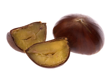 Isolated macro image of chestnuts.