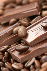 close-ups of dark chocolate and coffee beans