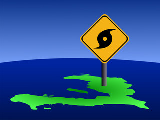 hurricane warning sign on Haiti map illustration