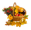 Basket with fruit and vegetables, shot from top, isolated