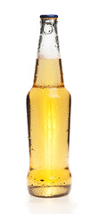 Beer bottle with a cap on top, with condensate,  isolated