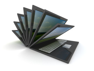 opening laptop on a white background. 3D image.