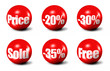 red 3D spheres printed with sale announcements