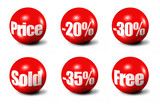 red 3D spheres printed with sale announcements poster