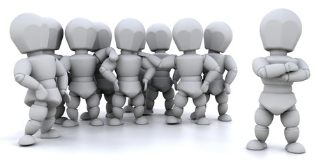 One person leading a team