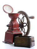 Red cast iron, hand-cranked, antique Spanish Coffee Grinder
