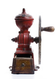 Red cast iron, hand-cranked, antique Spanish Coffee Mil