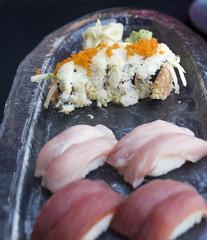 Spicy tuna Maki with flyingfish roe garnish