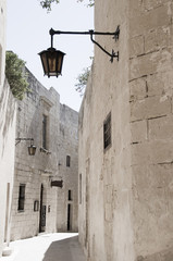 mdina malta ancient medieval town old architecture  street lamp
