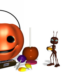 An ant with Halloween candy