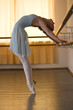 ballerina is doing exercises in ballet class