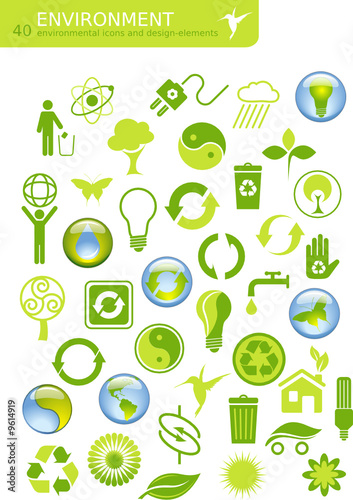 40 environmental icons and design elements