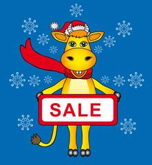 the cartoon bull santa for sale