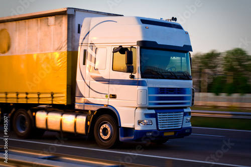 Freight truck on the highway, close view