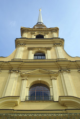 Wall and spire of Russian cathedral in Petropavlovskaya