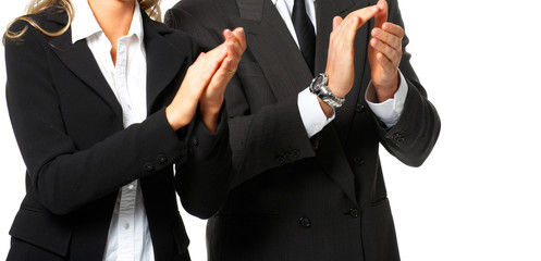 Business people clapping. Isolated over white background..
