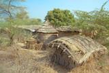 Hut in poor village in  india poster