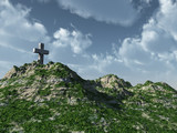 christian cross monument - 3d illustration