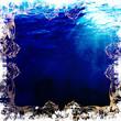 飾り枠のある青い背景