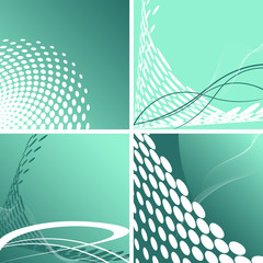 Set of Doted Abstract backgrounds  Green