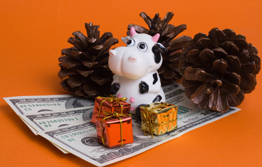 cow and gifts isolated on orange