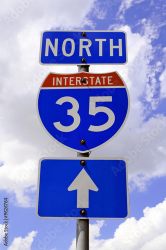 A highway 35 road sign in Texas.