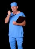 Senior doctor physician wearing scrubs poster