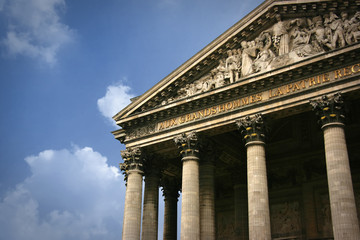 Detail of Pantheon pediment in Paris