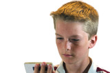 Blond Haired Boy Reading from a pad