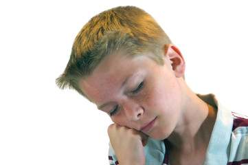 Blond Haired Boy Dozing Off