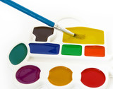 Box of watercolors and a brush isolated on a white background. poster