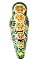 Russian nesting dolls in sequence isolated on white