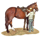 Watercolor illustration of a groom preparing her horse to ride poster