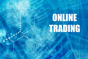 Online Trading Blue Abstract Background with Internet Network