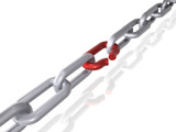 3D render of a chain with broken link. Isolated on white.