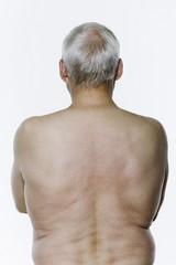naked back torso senior man