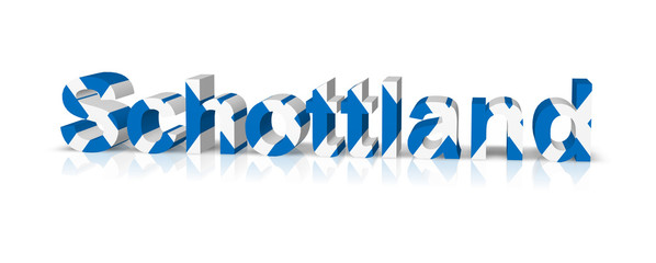 schottland 3d text symbol reflektion