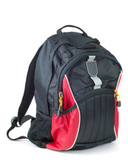 Style black with red colored backpack isolated over white