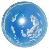 Sky globe with scattered cumulus clouds and sun poster